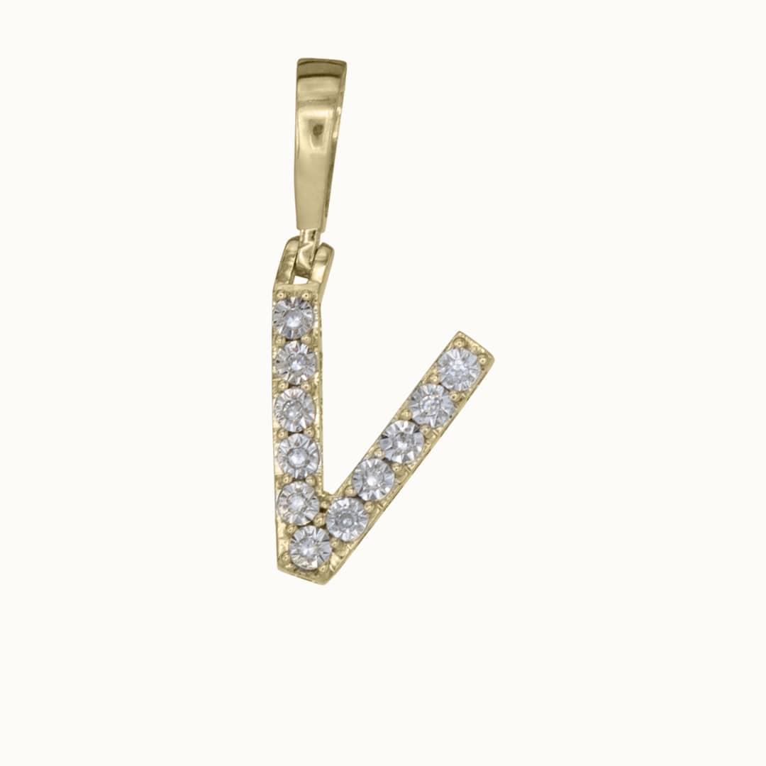 V | 14K Diamond Letter Charm