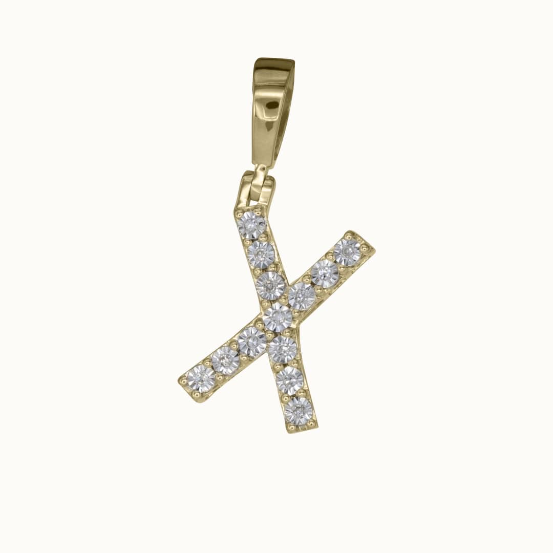 X | 14K Diamond Letter Charm