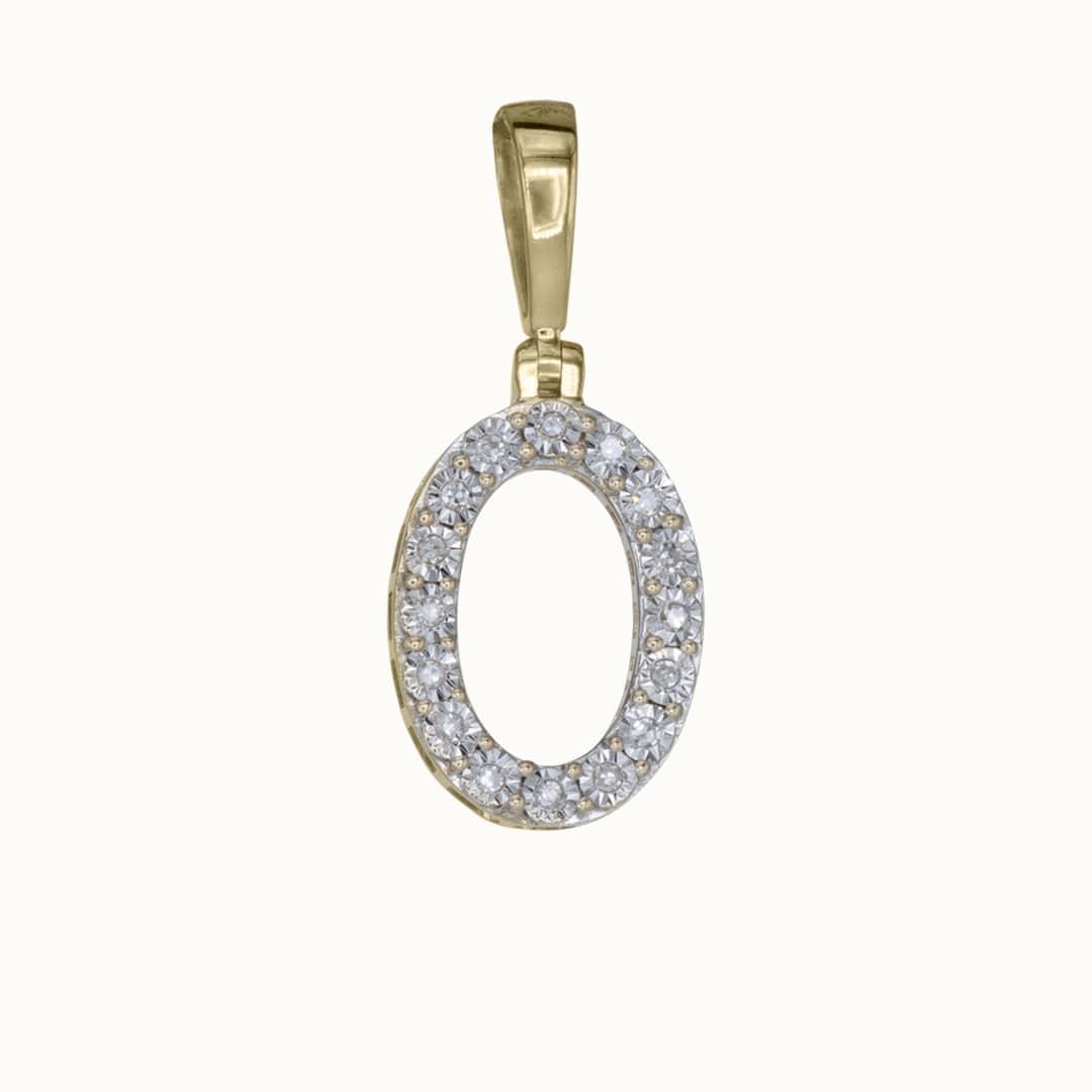 O   14K Diamond Letter Charm
