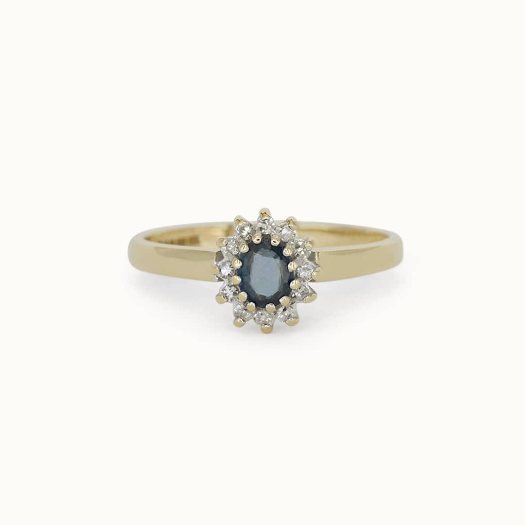 Navy | 9K Sapphire& Diamond
