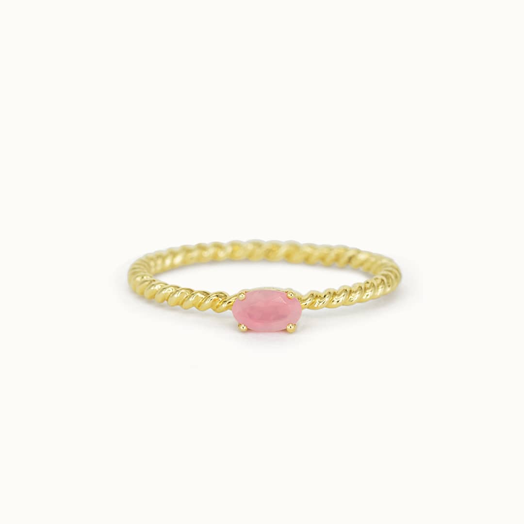 Louise | 14K Twisted Rose Quartz