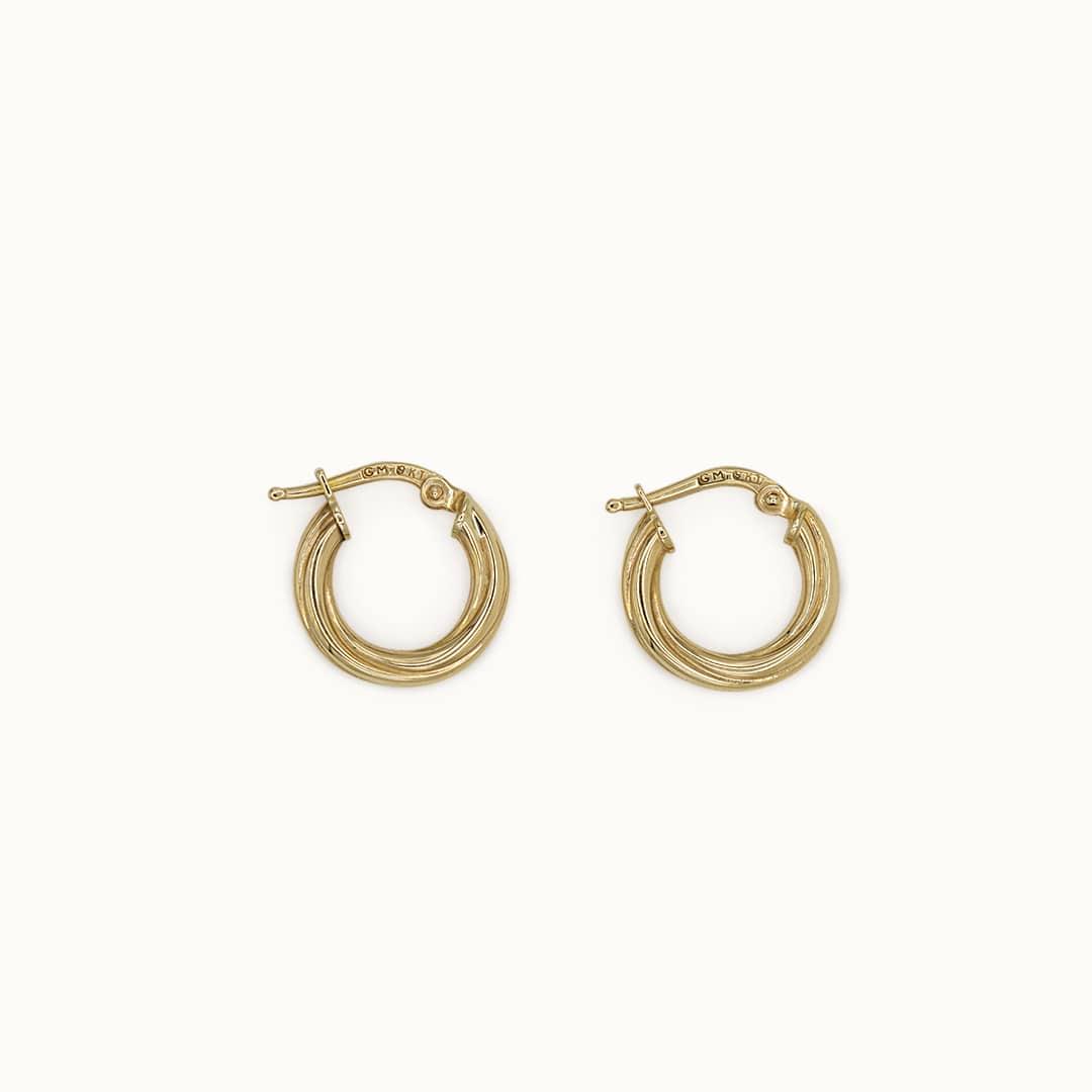 Jill   9K Twist Creole Earrings