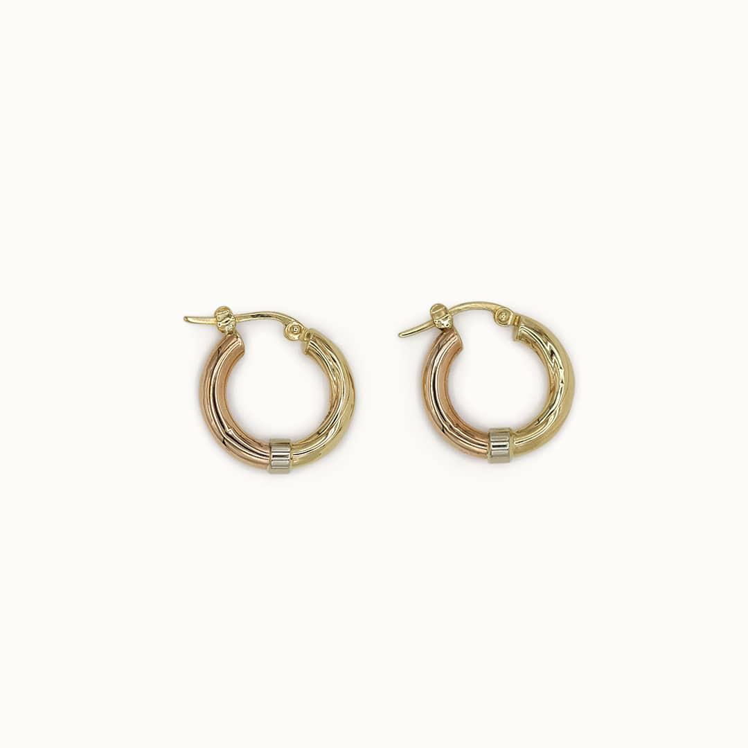 Ada | 9K 3 Colour Creole Earrings