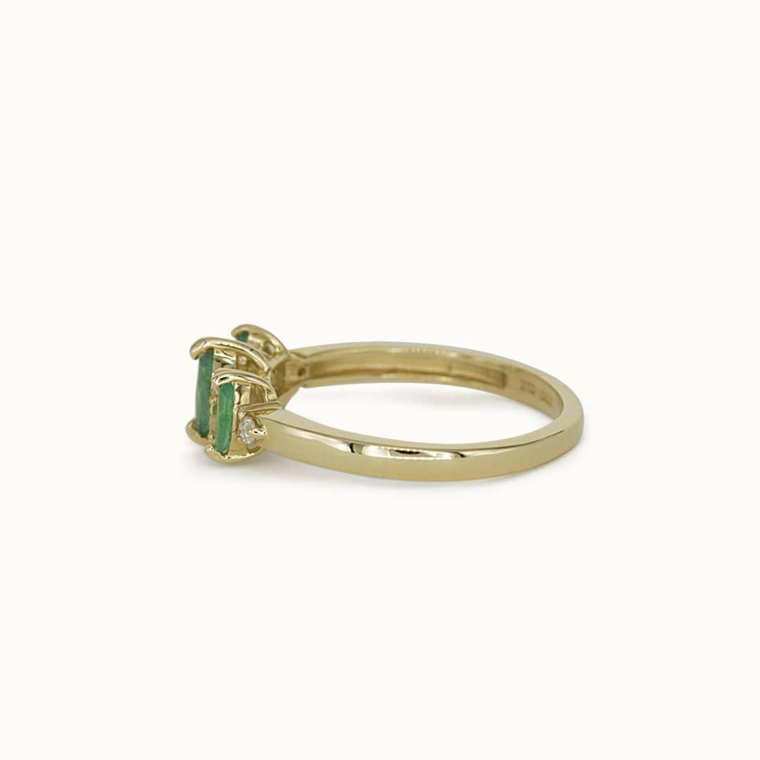 Ezra | 14K Emerald & Diamond