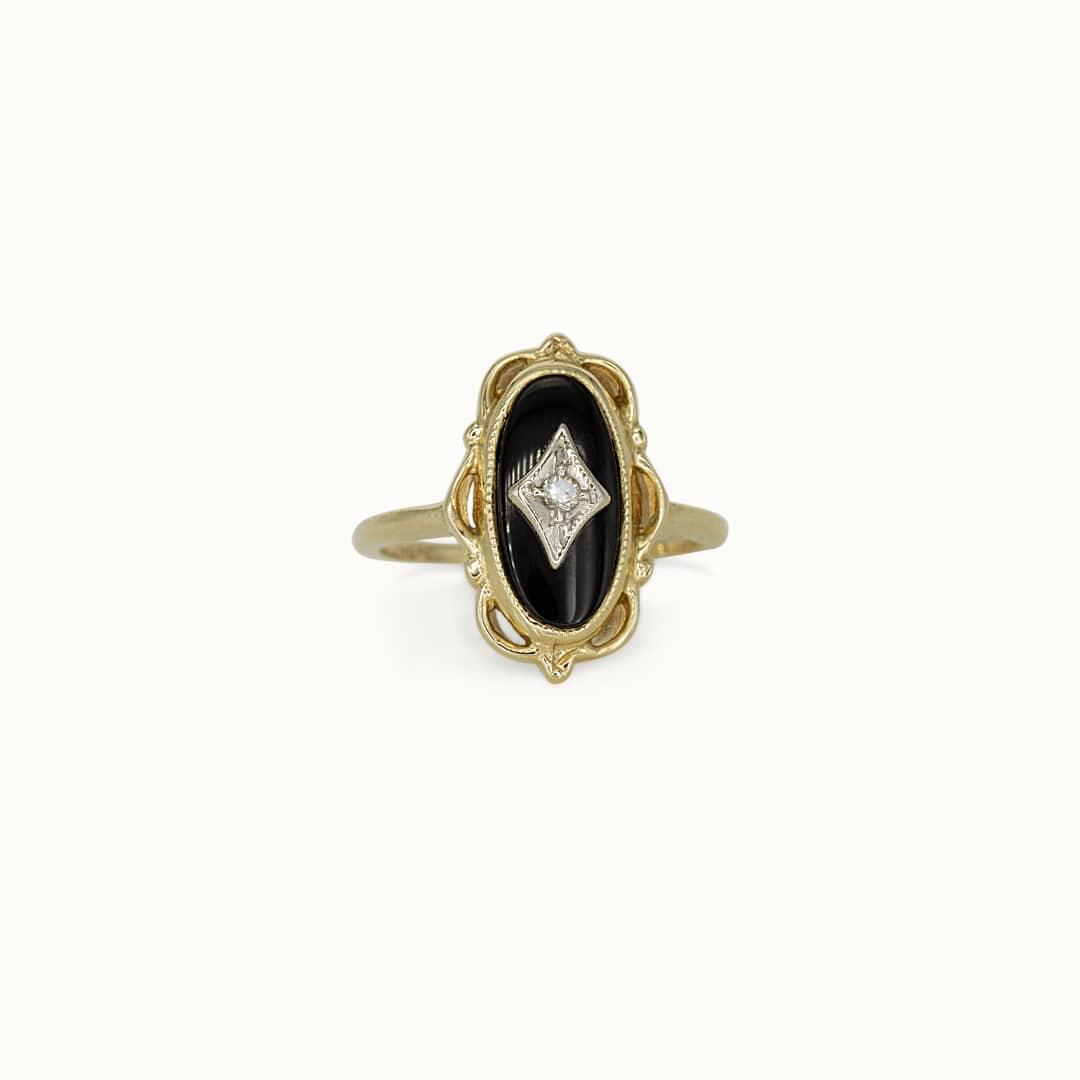 Laila | 14K Onyx & Diamond